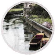 Punting Boats Round Beach Towel