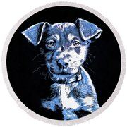 Puppy Dog Graphic Novel Drawing Round Beach Towel