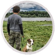 Puppy Guard Majestic Forest Round Beach Towel