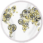 Purdue University Colors Swirl Map Of The World Atlas Round Beach Towel