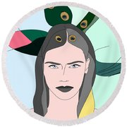 Pure Elixir- Beautiful Woman Portrait Minimalist Drawing Round Beach Towel