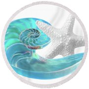 Pure Joy - Starfish With Nautilus Shell Round Beach Towel