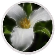 Pure White Trillium Round Beach Towel