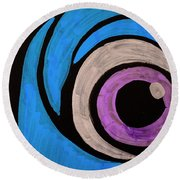 Purple And Blue Eyeball In Saint Augustine Florida Round Beach Towel