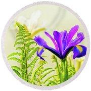Purple And Blue Iris Round Beach Towel