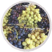 Purple And Green Grapes Round Beach Towel