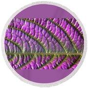 Purple And Green Leaf Round Beach Towel
