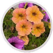 Purple And Peach Round Beach Towel