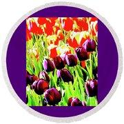 Purple And Peach Tulips 2 Round Beach Towel