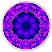 Purple And Pink Glow Fractal Round Beach Towel