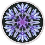 Purple And White Frosted Queen Mandala Round Beach Towel