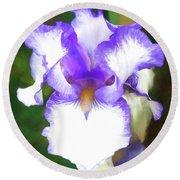 Purple And White Iris Round Beach Towel