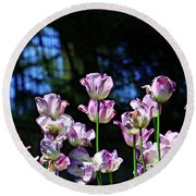 Purple And White Tulips - Photopainting Round Beach Towel