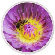 Purple And Yellow Lotus With A Bee Textured Round Beach Towel