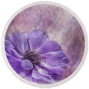 Purple Anemone Art Round Beach Towel