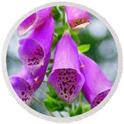 Purple Bells Round Beach Towel