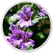 Purple Blossoms Round Beach Towel