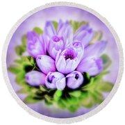Purple Bouquet Round Beach Towel