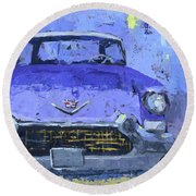 Purple Cadillac Round Beach Towel by David King