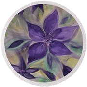 Purple Clematis Abstract Round Beach Towel