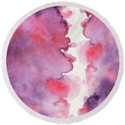 Purple Clouds Abstract Watercolor Round Beach Towel