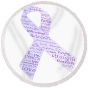 Purple Courage Round Beach Towel