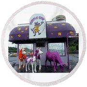 Purple Cow 1 Round Beach Towel