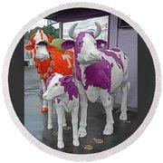 Purple Cow 2 Round Beach Towel