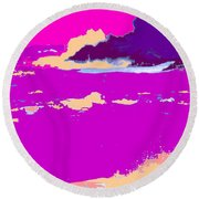 Purple Crashing Waves Round Beach Towel