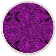 Purple Crossed Arrows Abstract Round Beach Towel