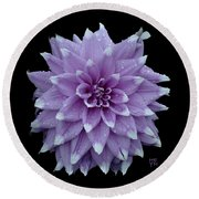 Purple Dahlia Cutout Round Beach Towel