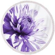 Purple Dahlia Floral Round Beach Towel