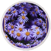 Purple Daisy Abstract Round Beach Towel