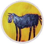 Purple Desert Donkey Round Beach Towel