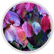Purple Fall Leaves Round Beach Towel