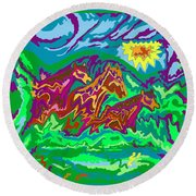 Purple Feathered Horses With Wider Surroundings Round Beach Towel