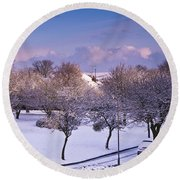 Purple February Round Beach Towel