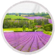 Purple Fields Of Love Round Beach Towel
