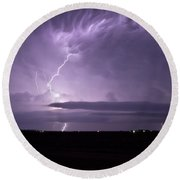 Purple Flames - Lightning On The Great Plains Round Beach Towel
