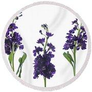 Purple Floral 2 Round Beach Towel