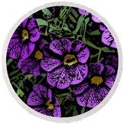 Purple Floral Fantasy Round Beach Towel