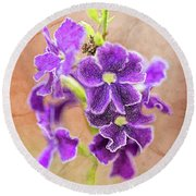 Purple Flower Round Beach Towel