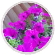 Purple Flowers 1 Round Beach Towel
