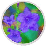 Purple Flowers 102310 Round Beach Towel