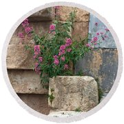 Purple Flowers In Ruins Round Beach Towel