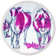 Purple Friesian Holstein Cows Drawing Round Beach Towel