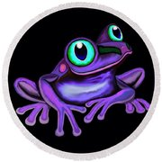 Purple Frog  Round Beach Towel