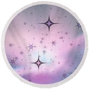 Purple Galaxy Round Beach Towel