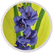 Purple Gladiolas Round Beach Towel