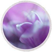Purple Glow. Gentle Floral Macro Round Beach Towel